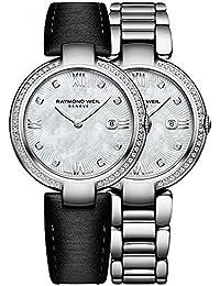 Reloj de cuarzo Raymond Weil Shine Ladies, 57 Diamantes, Blanco, 32 mm, Día