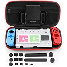 Nintendo Switch 7 in 1 COMBO Protective Accessory Kit, Carry Case, Dust Proof, Game Holder, Screen Protector, Silicone Grips, Joy-Con Grip