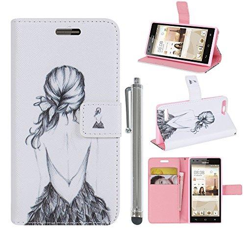 Hunye PU Ledertasche im Bookstyle Schutzhülle für Huawei Ascend P7 Mini Tasche Etui Cover Frau Rücken Muster Flip Case Schale mit Stylus silber