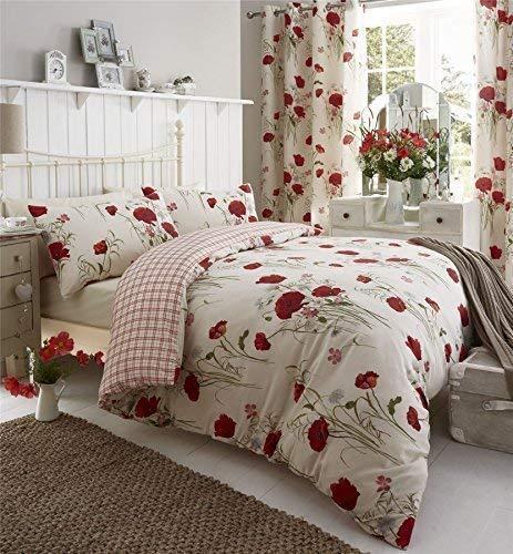 Meadow Mohn Daisy Rot Kingsize Baumwollgemisch Reversible Bettdecke Bettdecke Hülle - Daisy-duvet-set