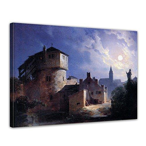 Bilderdepot24 Kunstdruck - Carl Spitzweg - Mondschein über dem Dorf - 80x60cm einteilig - Alte Meister - Leinwandbilder - Bilder als Leinwanddruck - Bild auf Leinwand - Wandbild (Mond Dem Auf Kirche)