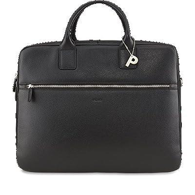 Picard Milano noir 8083 , Serviette Sac à Bandoulière Besace en Cuir avec compartiment pour ordinateur portable sac d'affaires sac pour le bloc-notes Mallette