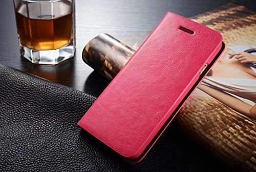 Coque Pour iPhone SE, iNenk® PU cuir portefeuille téléphone sac à main affaire titulaire Shell mode Flip téléphone solide manchon protection pour hommes et femmes-marron Rose