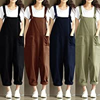 Festnight Fashion Summer,New Women Loose Jumpsuit Overalls Solid Sleeveless Pockets Wide Legs Casual Dungarees Playsuit Rompers