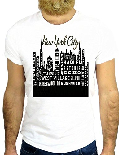 T SHIRT Z0654 NEW YORK CITY USA COOL VINTAGE AMERICA SKYLINE HIPSTER COTTON GGG24 BIANCA - WHITE