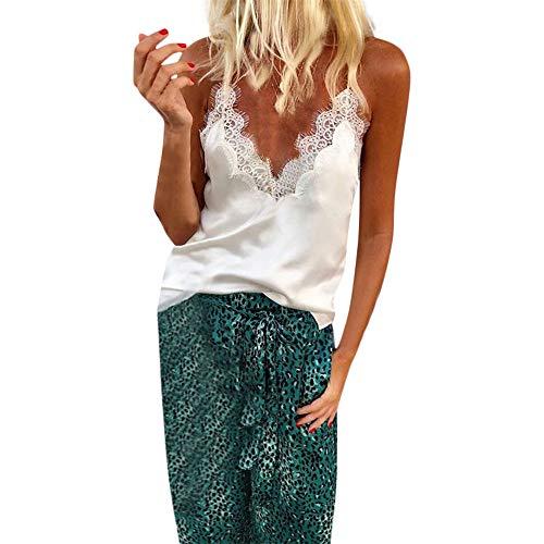 IZHH Damen äRmelloses TräGershirt, Damen Sexy Shirt V-Ausschnitt Lace Up Patchwork Tunika Camis Bluse Crop Tops Strappy Weste ÄRmellos Tunika Damen Crop Cami Top(Weiß,L)