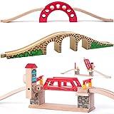 Set: 3 Stück _ Holz - Brücken - Klappbrücke / Hebebrücke + 5 Schienen - für Holzeisenbahn - passend für alle Schienen-Systeme & Straßen - z.B. Brio / Heros / ..