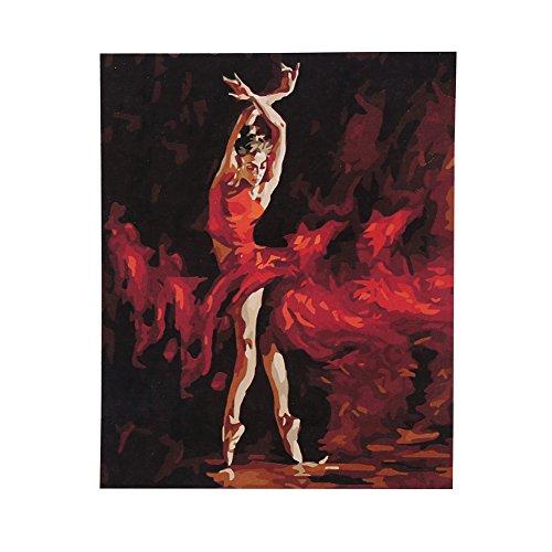 Preisvergleich Produktbild DIY Ölgemälde Digitale Malerei Malen Nach Zahlen 50cm*40cm mit Leinwand Bilderhaken Malerei Pinsel Farbstoff Brauchen Keines Wasser ohne Rahmen (8301 Leidenschaftliche Tänzerin)