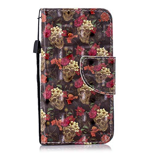ShinyCase Flip Brieftasche PU Ledertasche für iPod Touch 5/Touch 6 Handyhülle Wallet Case 3D Bling Glitzer Tasche im Brieftasche-Stil Knochenblume Muster Cover Schütz Hülle Abdeckung Ledertasche - Den Ipod 5 3d-cases Für Bling