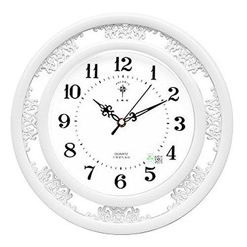 kklock Horloge murale Horloge murale Montres Silencieux pour salon cuisine chambre bureau chambre d'enfant Mini simple pile AA Ø35cm Rétro ronde avec chiffres Cartoon Montres [ne contient pas de batterie]