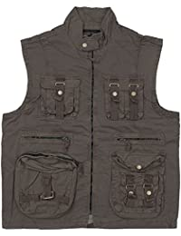 Mil-Tec Men's Vintage Survival Vest Prewashed Black