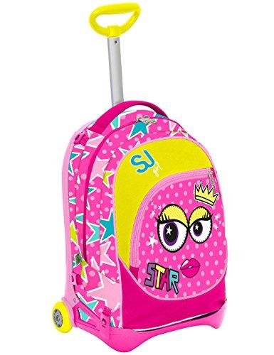 Seven s.p.a. trolley jack junior - sj faccine - viola rosa - 28 lt sganciabile e lavabile - scuola e viaggio