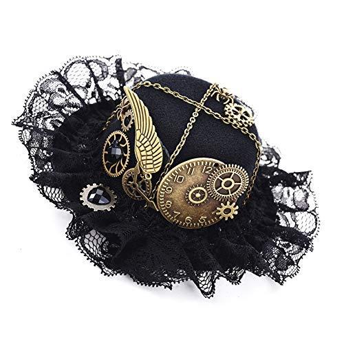 Double Villages Mini Hut Clip Gotisch Frau Steampunk Gang Flügel Uhr Schmetterling Hut Spitze Haar Clip Kopfbedeckung