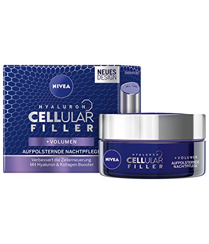 NIVEA Anti-Age Aufpolsternde Nachtpflege, Tiegel, Hyaluron CELLular Filler, 50 ml