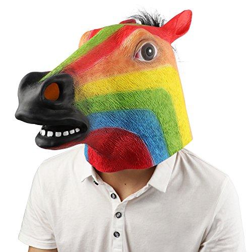 Supmaker Pferdemaske für Halloween Maske latex Tiermaske Pferdekopf Pferd Kostüm (Maske Regenbogen)
