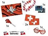 XXL Fanartikel Set Schweiz mit 1x Fahne Flagge Schweizflagge Schweizfahne, 2x Autoflaggen Autofahnen, 1x Blumenkette rot,weß, 1x Klatschhand Schweiz, 1x Partybrille Brille Schweiz, 1x WM Planer DIN A3 für Fußballweltmeisterschaft WM 2018