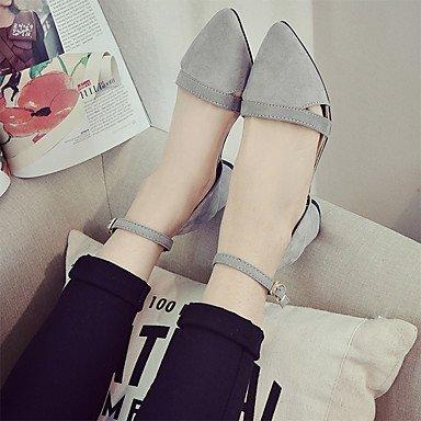 LvYuan Damen-Sandalen-Lässig-Wildleder-Blockabsatz-Komfort-Schwarz Rot Grau gray