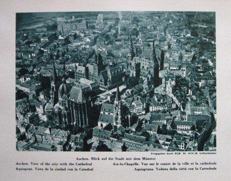 Aachen: Blick auf Stadt und Münster / Rathaus - historischer Fotodruck / Kupfertiefdruck - 1938 (Original !)