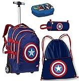 Avengers Capitan America Set Zaino Trolley Scuola Astuccio Box Colazione Sacca Sport Ragazzo Bambino