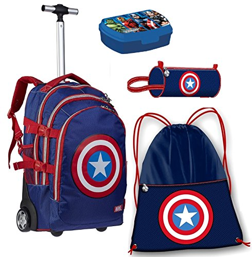 6314bc2fb5 Avengers Capitan America Set Zaino Trolley Scuola Astuccio Box Colazione  Sacca Sport Ragazzo Bambino