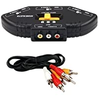 Accessotech 3 Porte AV Composito & Audio RCA Phono Selettore Hub cavo TV Xbox 360 PS3
