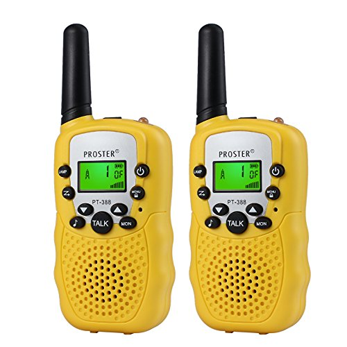 Walkie Talkies, Proster Niños Walkie T388 UHF 446MHz 8 Canales 0.5W de Gama con Pantalla LCD y Linterna Incorporado para Supermercados Centros Comerciales Festivales (2 PCS)