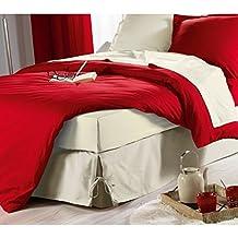 Les Douces Nuits De Mae - Faldón para cama con lazo (160 x 200 cm), color beige natural