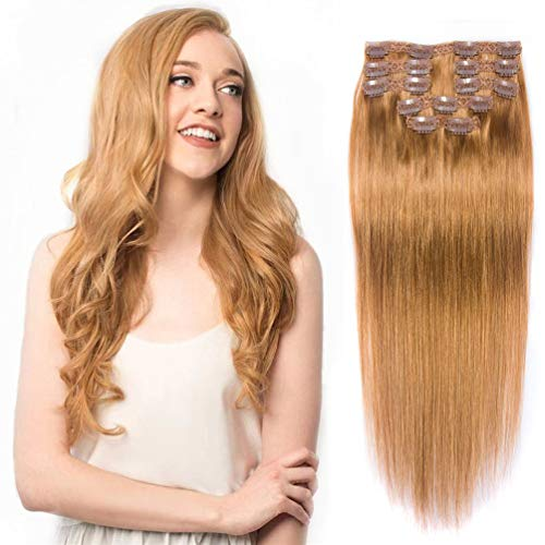 Clip In Hair Extensions gerade blonde Remy Echthaar mit Doppel-Tresse, seidig Clip in Hair Extensions Echthaar 10 A Grade (16 inches, (27 color))