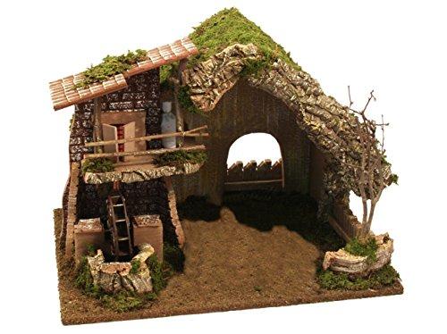 BERTONI leer Holz Hütte mit Wassermühle, Holz, mehrfarbig, 38x 28x 28cm