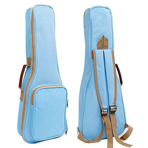 Zealux Hochwertige Ukulele-Hülle/Tasche mit Schaumstofffüllung und Schulterriemen, 10 mm, in verschiedenen Farben 21 in hellblau