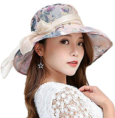 iHomey klappbar Breite Krempe Seidig Derby Sunhat Flora Bucket Hat Travel Sun Schutz Kappe, Damen, Beige, Carry-on