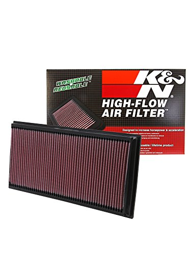 K&N Engineering 33-2857 air filter - air filters (Black, Red, Vw Touareg 3.2L-V6; 2003, 186 x 387 x 30 mm)