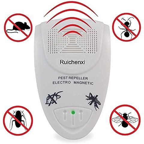 Ruichenxi ® Unità ultra sonic Electro Magnetic Pest Control Repeller della parete della spina per i roditori, topi, scarafaggi, zanzare, mosche, pulci, ragni (bianco)