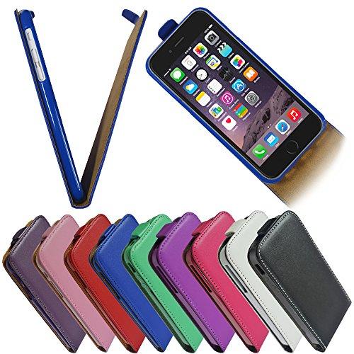 Für Apple iPhone Flip Handy Tasche Case Flip Cover Hülle Etui Klapptasche iPhone 5 - 5s Weiss Schwarz