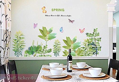 wandsticker4u-wandtattoo-fruhlingsgarten-im-wasserfarben-look-effektbild-130x88-cm-gras-graser-blume