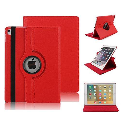 iPad Pro 12.9 Zoll Schutzhülle, elecfan® iPad Pro 12.9 Zoll 360 drehende Smart Hülle PU Leder Abdeckung Gehäusedeckel für Apple iPad Pro 12.9 Zoll (iPad Pro 12.9, Rot) (Leder-mikrofon Abdeckung)