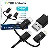 Tech Armor 3-in-1 (Type C / Lightning / Micro) USB Charging Cable - Sync / Charge Apple and Android - 3 Foot Black - mFi Certified
