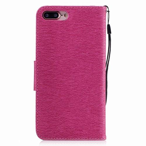 Yiizy Apple IPhone 7 Plus Custodia Cover, Fiore Di Farfalla Design Sottile Flip Portafoglio PU Pelle Cuoio Copertura Shell Case Slot Schede Cavalletto Stile Libro Bumper Protettivo Borsa (Grigio) Red Rose