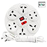 #4: ELV Extension Board 6 Amp 8 Plug Point with Master Switch, LED Indicator, Extension Cord (2.7 Meter) - White