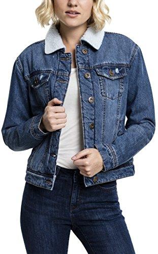 Urban Classics TB1740 Ladies Sherpa Denim Jacket, klassische Trucker Jeansjacke mit Fell für Frauen,  für Herbst und Winter, warm gefüttert - blue washed, Größe M (Lammfell-ein-knopf-blazer)