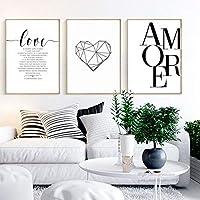 Nordic Ideas Set de 3 Affiches 40x50 Noir et Blanc Citation Amour Maison Tableau Decoration Murale Salon Impressions sur…