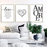 Nordic Ideas Set de 3 Affiches Citation Amour Maison Tableau Decoration Murale Salon Impressions sur Toile Poster Noir et Blanc sans Cadre PTPC002-XL