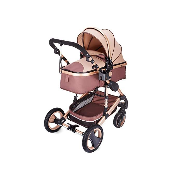 Hopopular 3 in 1 Luxury Baby Stroller Travel System with Anti-Shock Springs