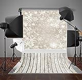 5x7ft grau Schneeflocken Hintergrund Fotografie Hintergrund Holz Boden Weihnachten Hintergründen lily885