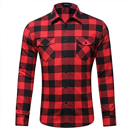 Space climber camicia a quadri uomo flanell shirt maniche lunghe shirt slim fit rosso m