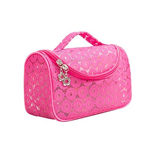Sweet en dentelle florale étanche Voyage Maquillage Organiseur de sac Sacs de rangement Transparent Coque rouge rose