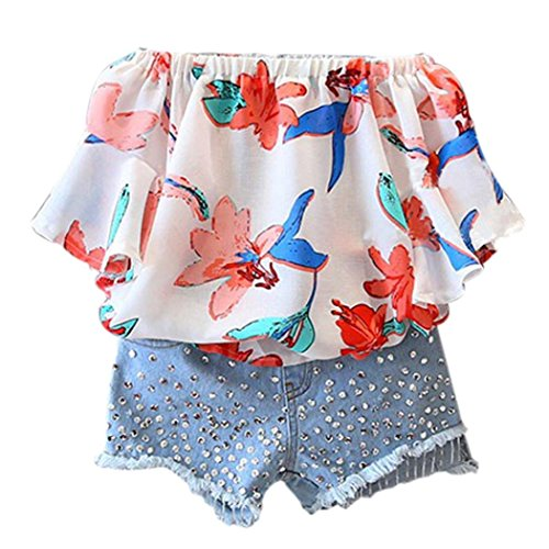 Bekleidung Longra Sommer Kinder-Mädchenkleidung florale Wort Schulterfrei Chiffon Kurzarm Shirt Bluse Tops + Pailletten Denim Shorts Hose Set Kleidung Outfits(3-7Jahre) (140CM 7Jahre, Multicolor) (Chiffon Denim)
