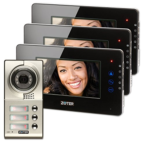 Generic 7 inch Color LCD Video Door Phone Doorbell Home Entry Intercom System 3 Monitor 1 Metal Camera Night Vision for 3 Family 705 (Black) by Generic