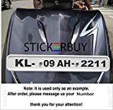 #5: stickerbuy Customer Number Plate Black Matte Decal Sticker Front and Back Numbers Water Resistance for All Bike Sticker
