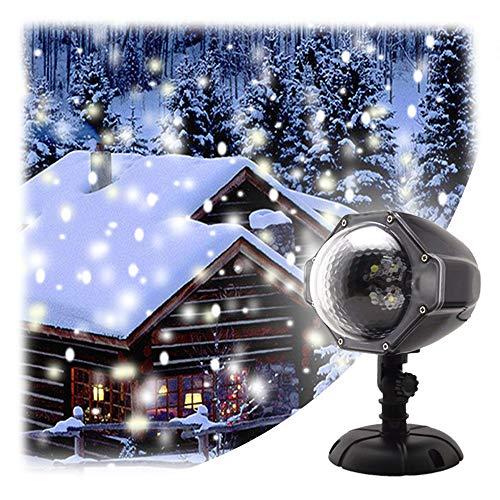 GAXmi Nieve que cae la luz Navidad Nevadas Blancas Luces de Proyector LED Proyector Rotativo para Boda Cumpleaños Nochevieja Al aire libre Interior Decoración del paisaje
